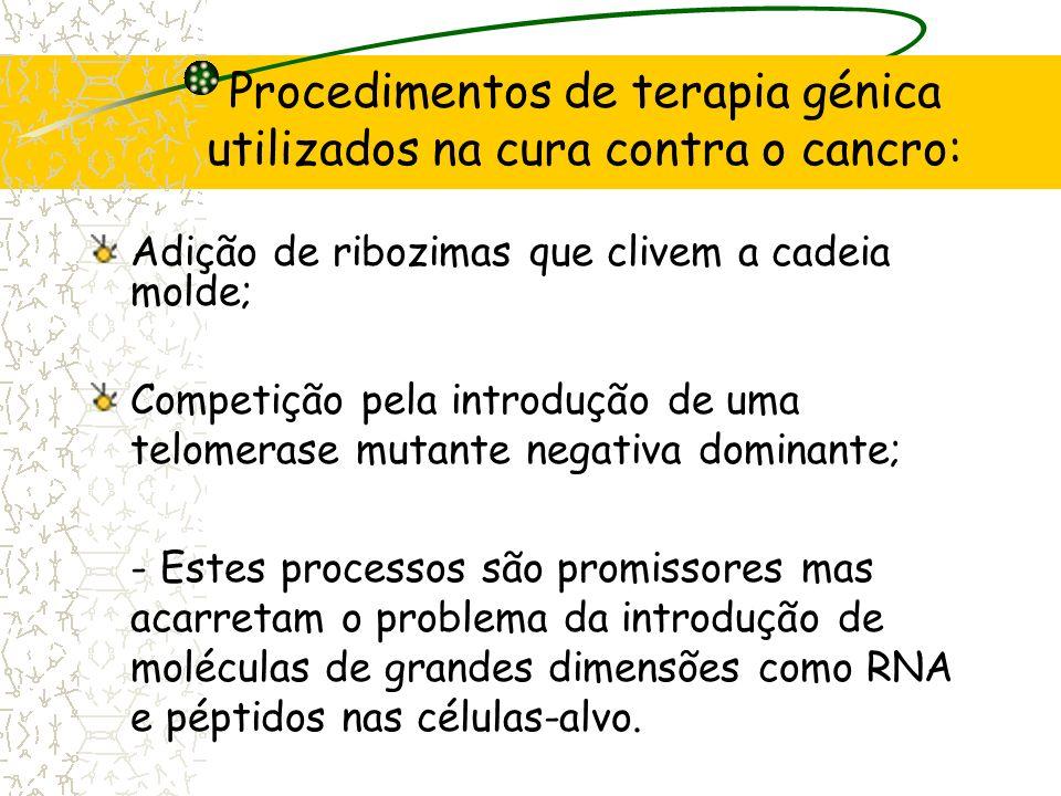Procedimentos de terapia génica utilizados na cura contra o cancro: Introdução de antisense RNA contra a cadeia de RNA molde; Silenciamento do gene re