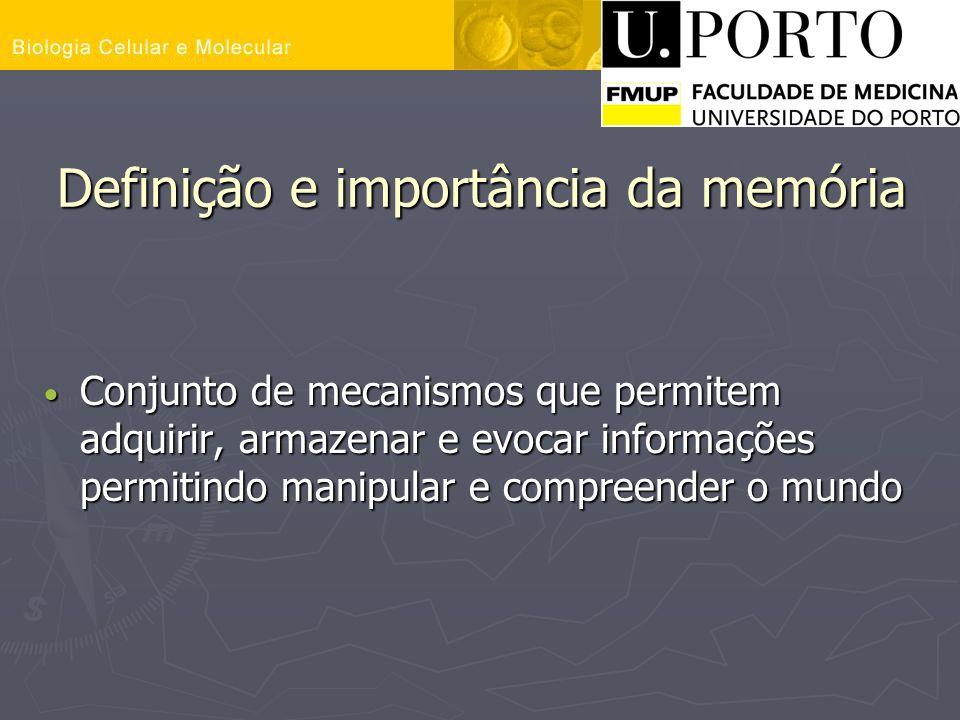 Definição e importância da memória Conjunto de mecanismos que permitem adquirir, armazenar e evocar informações permitindo manipular e compreender o m
