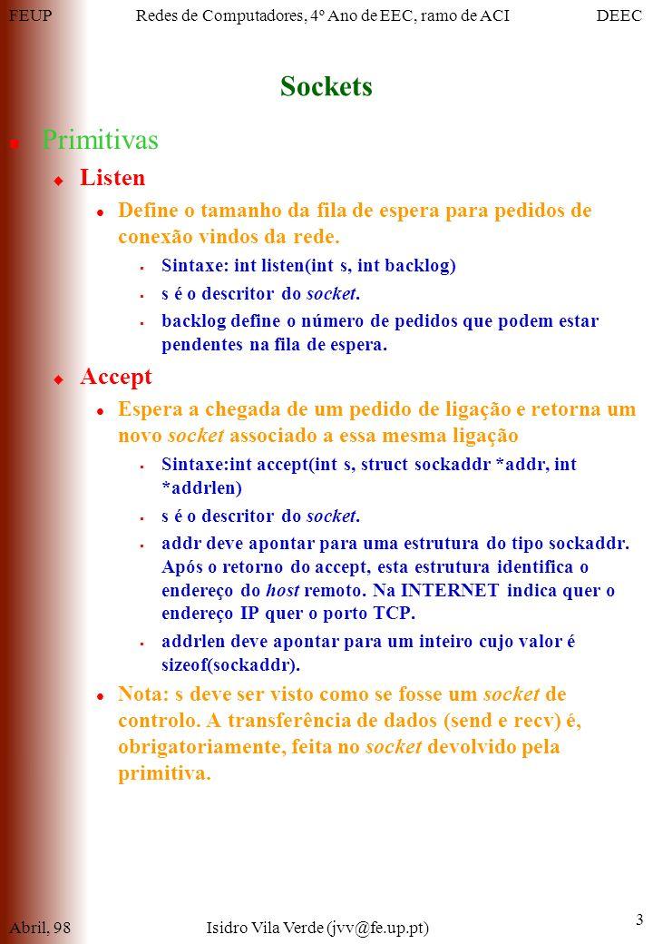 FEUPDEECRedes de Computadores, 4º Ano de EEC, ramo de ACI Sockets Abril, 98Isidro Vila Verde (jvv@fe.up.pt) 3 Primitivas Listen Define o tamanho da fila de espera para pedidos de conexão vindos da rede.