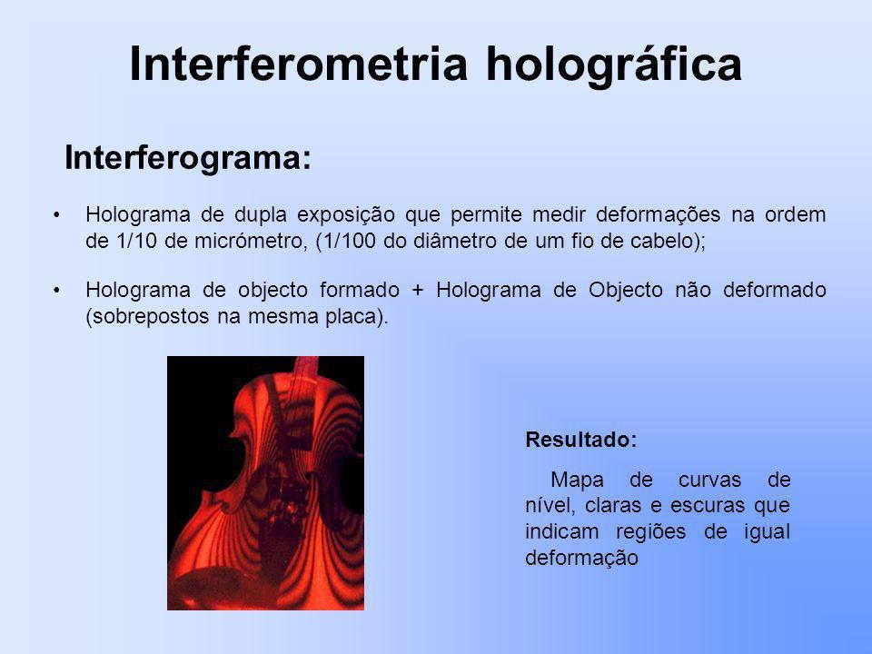 Interferometria holográfica Holograma de dupla exposição que permite medir deformações na ordem de 1/10 de micrómetro, (1/100 do diâmetro de um fio de