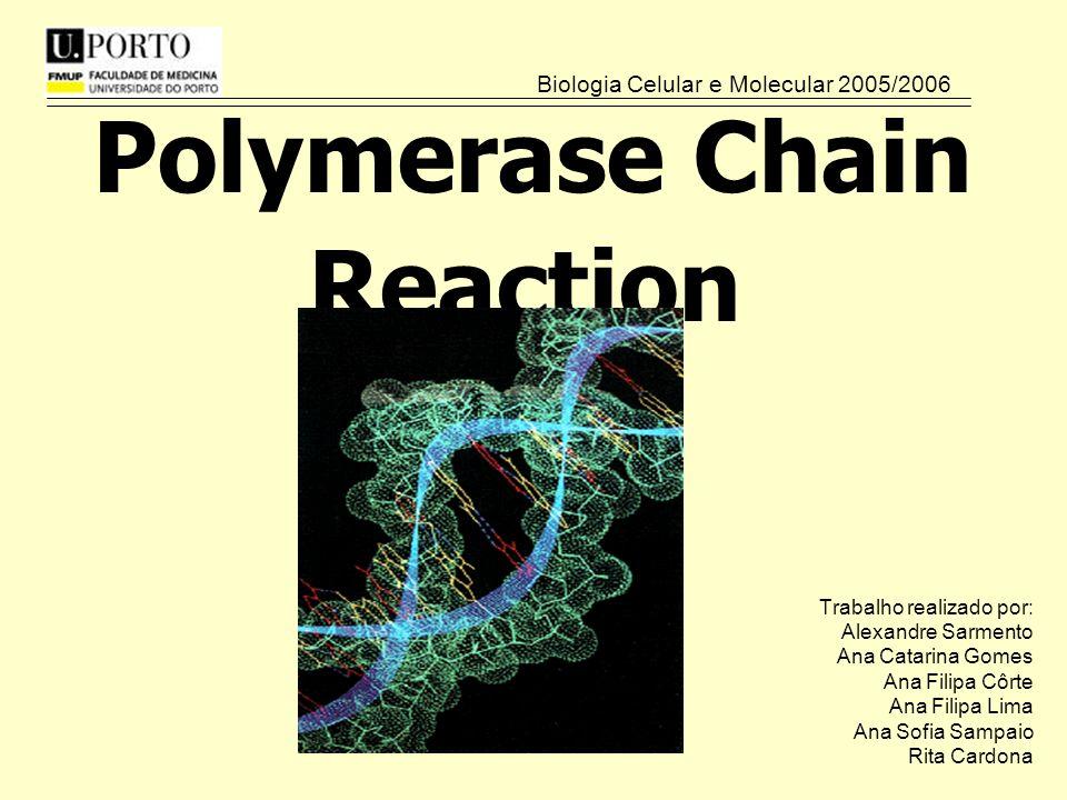Polymerase Chain Reaction Trabalho realizado por: Alexandre Sarmento Ana Catarina Gomes Ana Filipa Côrte Ana Filipa Lima Ana Sofia Sampaio Rita Cardona Biologia Celular e Molecular 2005/2006
