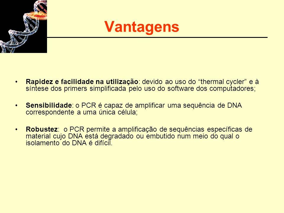 Vantagens Rapidez e facilidade na utilização: devido ao uso do thermal cycler e à síntese dos primers simplificada pelo uso do software dos computador