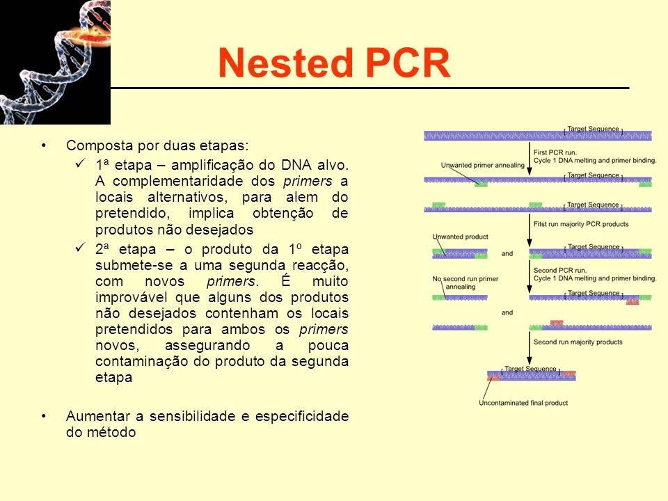 Nested PCR Composta por duas etapas: 1ª etapa – amplificação do DNA alvo. A complementaridade dos primers a locais alternativos, para alem do pretendi