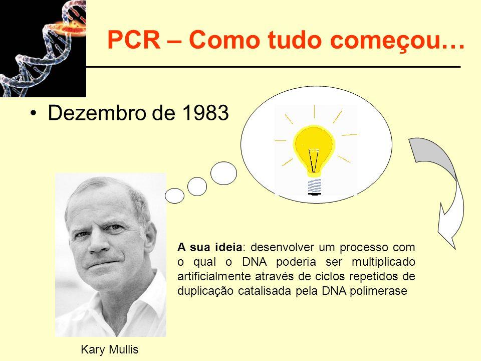 PCR – Como tudo começou… Dezembro de 1983 A sua ideia: desenvolver um processo com o qual o DNA poderia ser multiplicado artificialmente através de ci