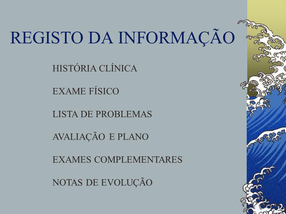 REGISTO DA INFORMAÇÃO HISTÓRIA CLÍNICA EXAME FÍSICO LISTA DE PROBLEMAS AVALIAÇÃO E PLANO EXAMES COMPLEMENTARES NOTAS DE EVOLUÇÃO