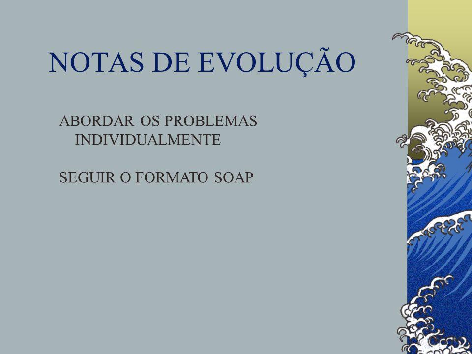 NOTAS DE EVOLUÇÃO ABORDAR OS PROBLEMAS INDIVIDUALMENTE SEGUIR O FORMATO SOAP