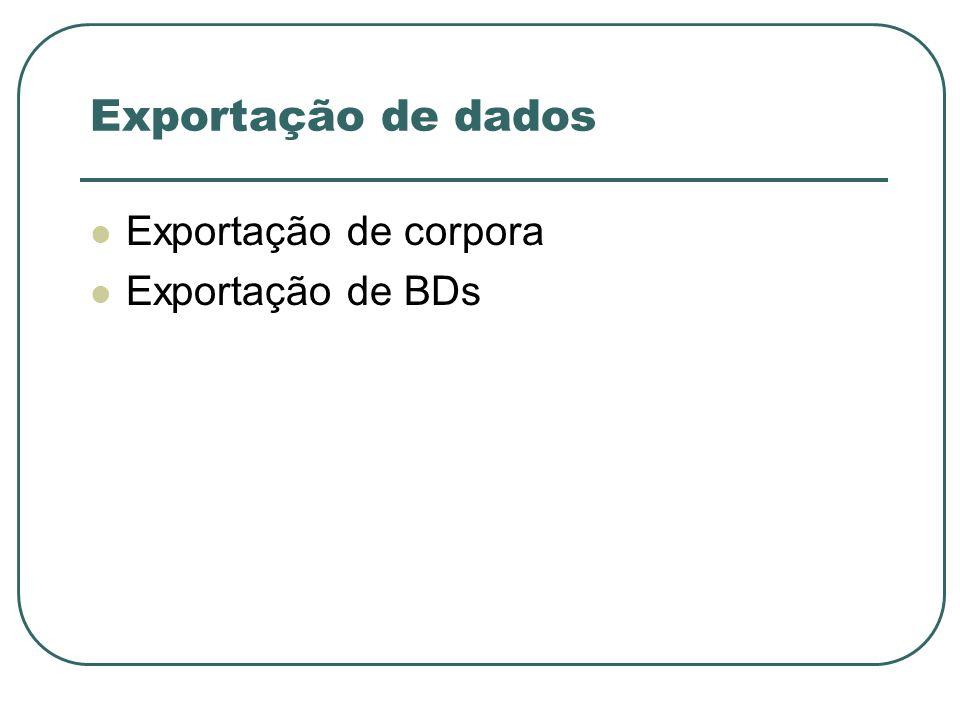 Exportação de dados Exportação de corpora Exportação de BDs
