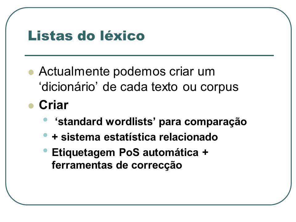 Listas do léxico Actualmente podemos criar um dicionário de cada texto ou corpus Criar standard wordlists para comparação + sistema estatística relaci