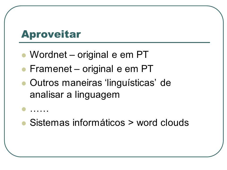 Aproveitar Wordnet – original e em PT Framenet – original e em PT Outros maneiras linguísticas de analisar a linguagem …… Sistemas informáticos > word