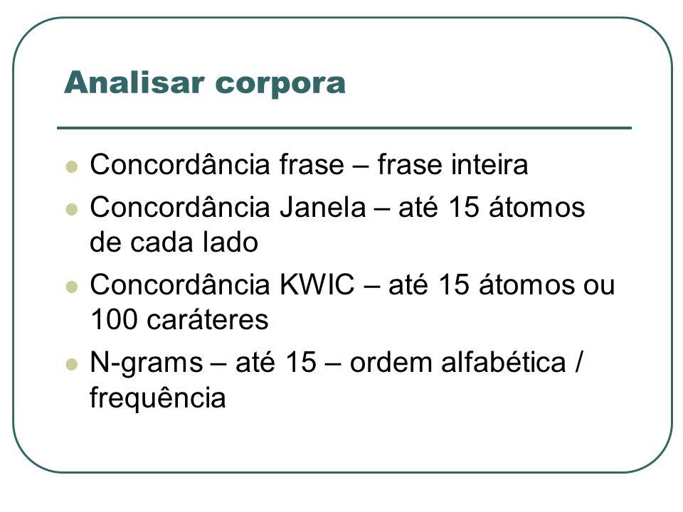 Analisar corpora Concordância frase – frase inteira Concordância Janela – até 15 átomos de cada lado Concordância KWIC – até 15 átomos ou 100 carátere