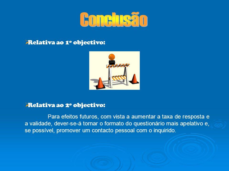Relativa ao 1º objectivo: Relativa ao 2º objectivo: Para efeitos futuros, com vista a aumentar a taxa de resposta e a validade, dever-se-á tornar o fo