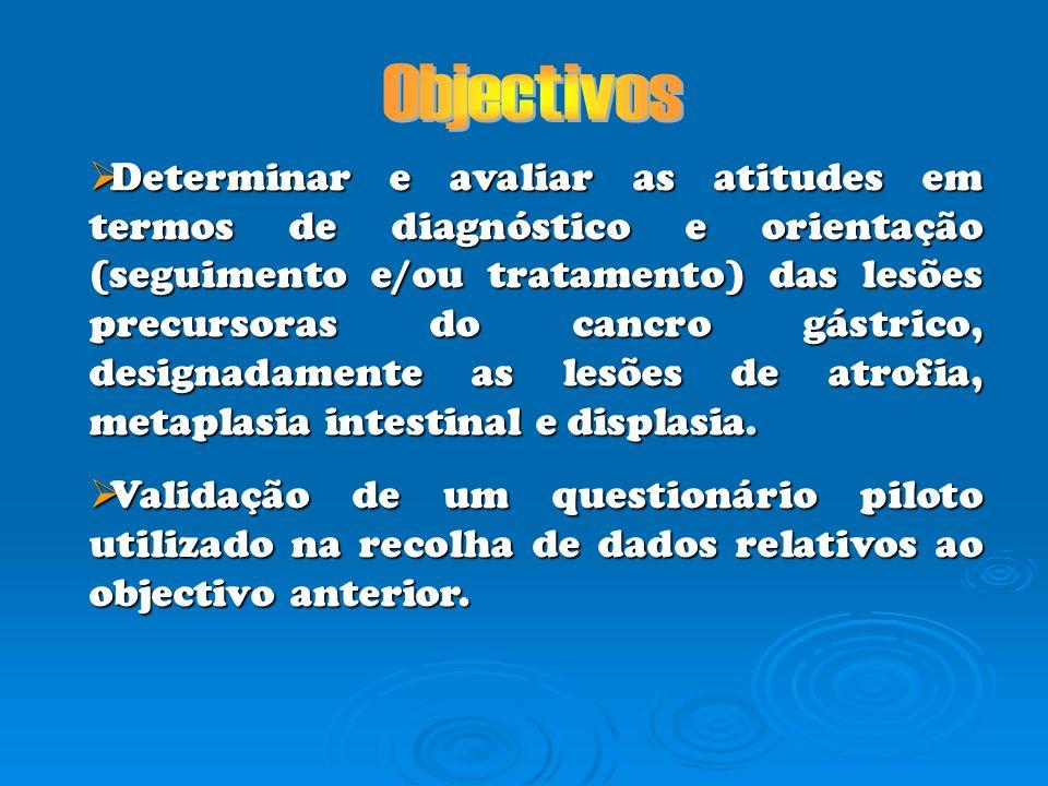 Determinar e avaliar as atitudes em termos de diagnóstico e orientação (seguimento e/ou tratamento) das lesões precursoras do cancro gástrico, designa