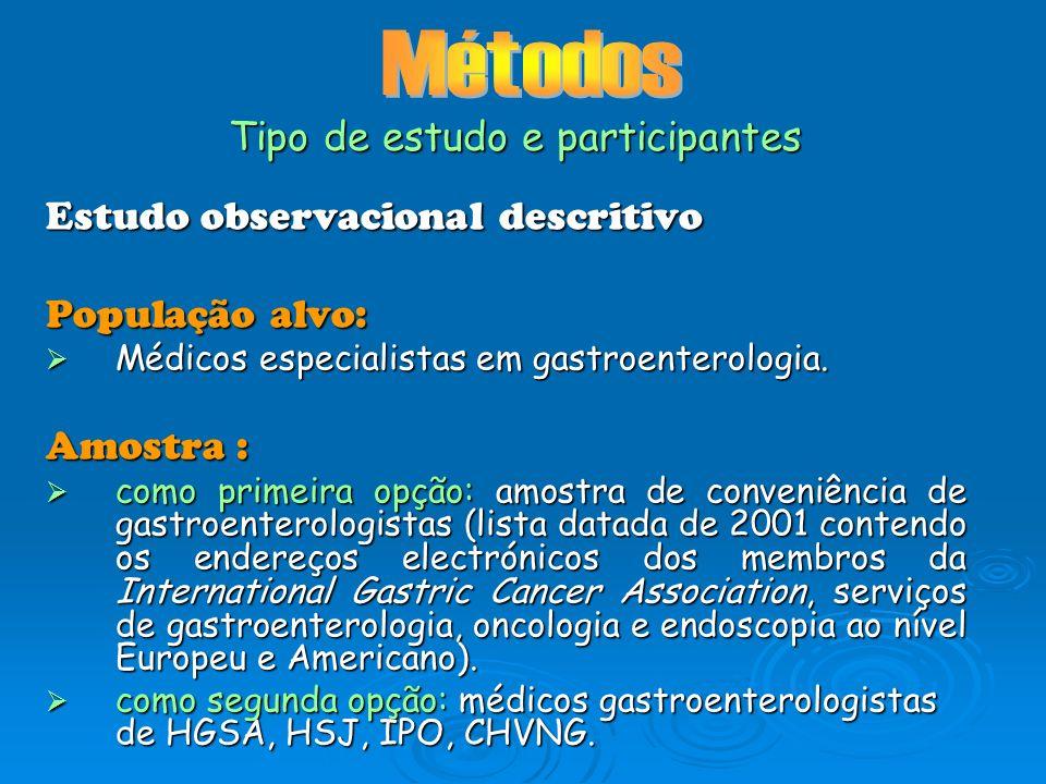 Estudo observacional descritivo População alvo: Médicos especialistas em gastroenterologia. Médicos especialistas em gastroenterologia. Amostra : como