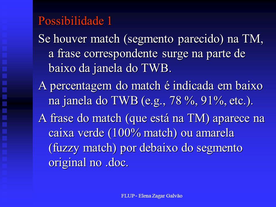 FLUP - Elena Zagar Galvão Possibilidade 1 Se houver match (segmento parecido) na TM, a frase correspondente surge na parte de baixo da janela do TWB.