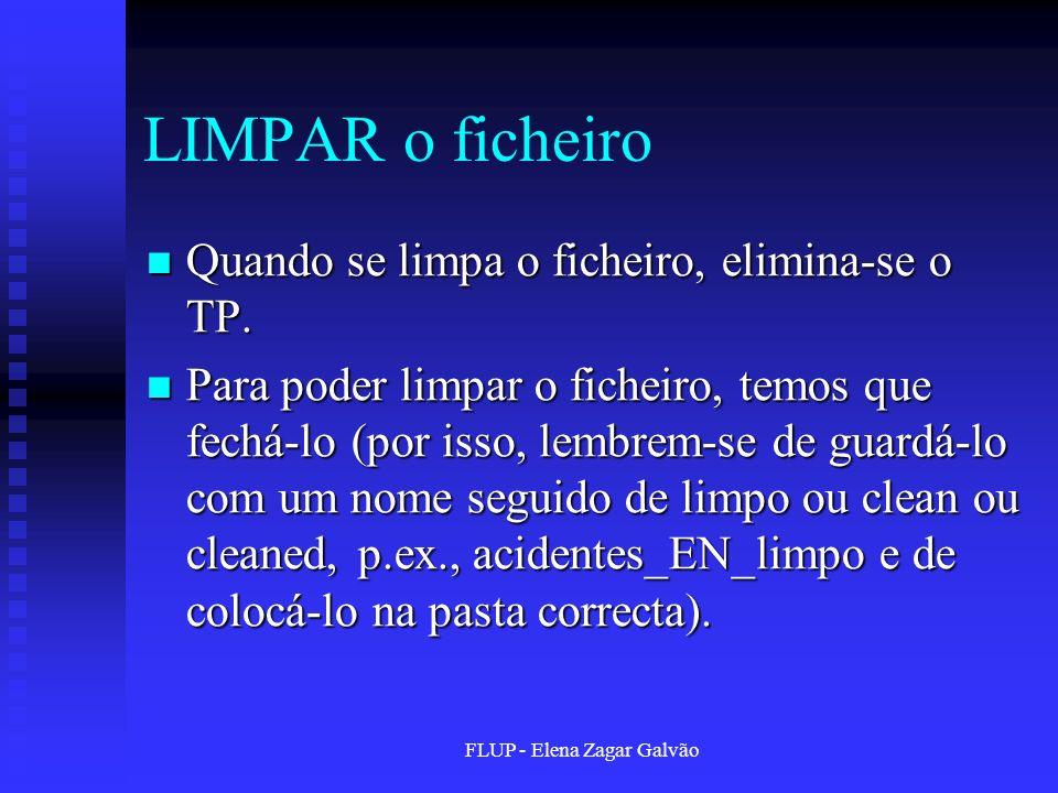 FLUP - Elena Zagar Galvão LIMPAR o ficheiro Quando se limpa o ficheiro, elimina-se o TP. Quando se limpa o ficheiro, elimina-se o TP. Para poder limpa