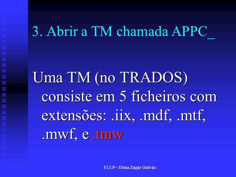 FLUP - Elena Zagar Galvão 3. Abrir a TM chamada APPC_ Uma TM (no TRADOS) consiste em 5 ficheiros com extensões:.iix,.mdf,.mtf,.mwf, e.tmw