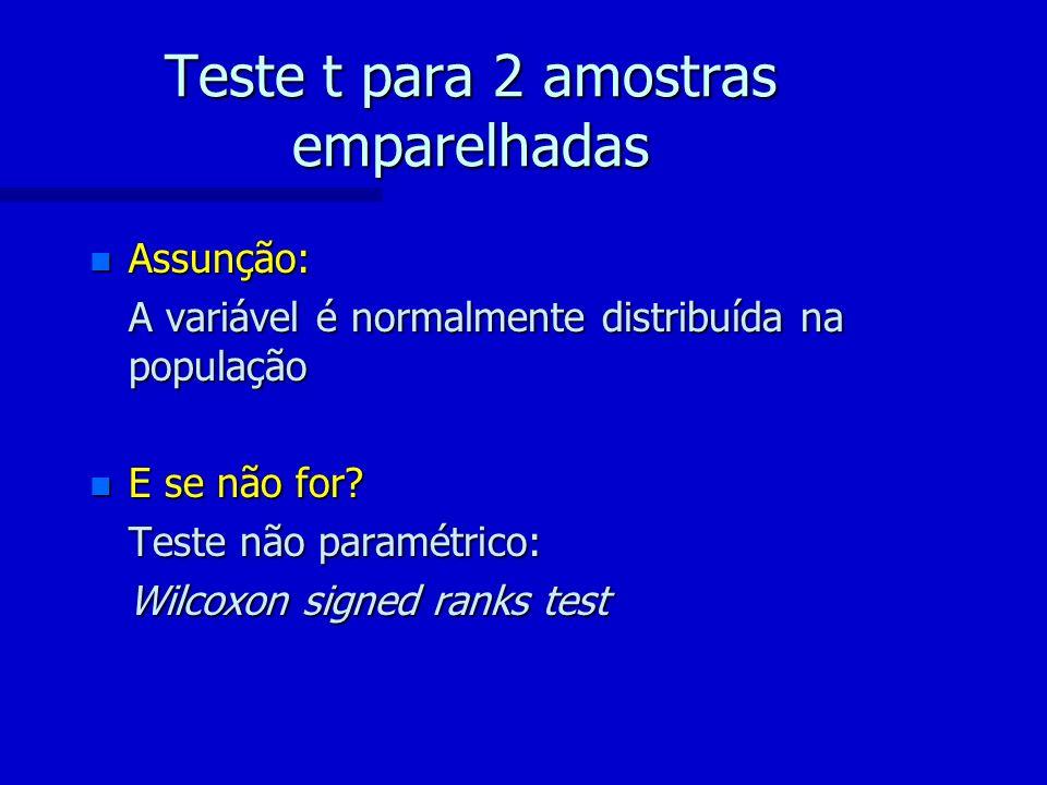 Teste t para 2 amostras emparelhadas n Assunção: A variável é normalmente distribuída na população n E se não for? Teste não paramétrico: Wilcoxon sig