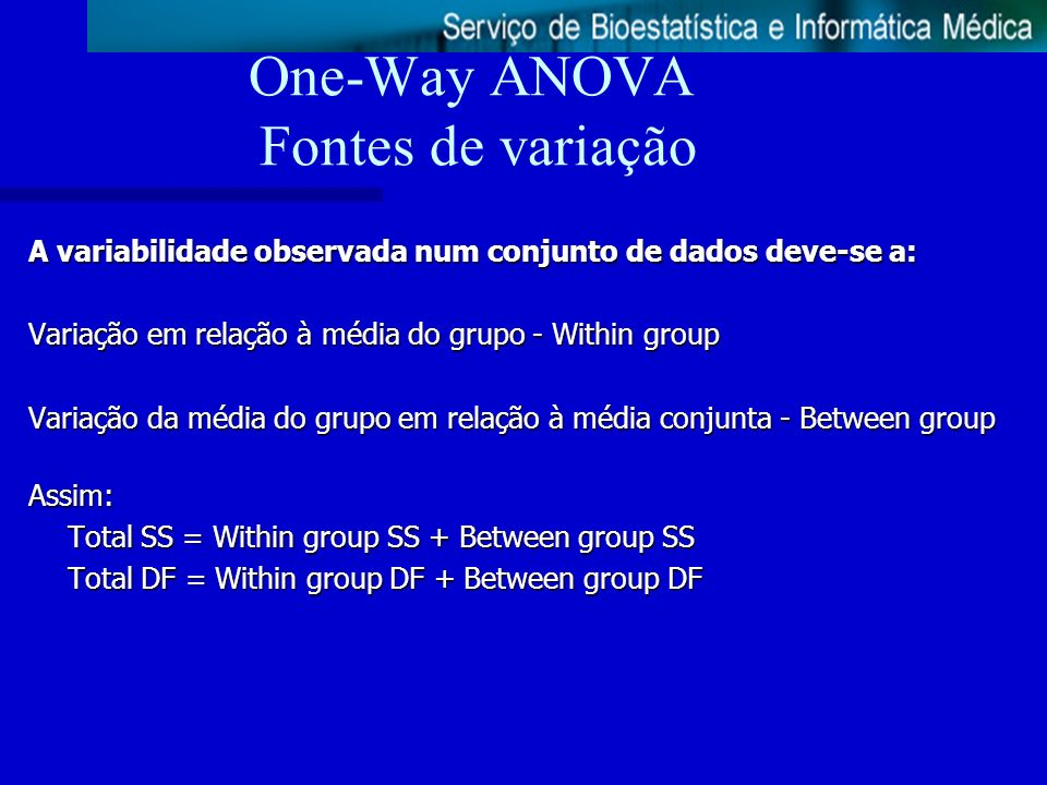 One-Way ANOVA Fontes de variação A variabilidade observada num conjunto de dados deve-se a: Variação em relação à média do grupo - Within group Variaç