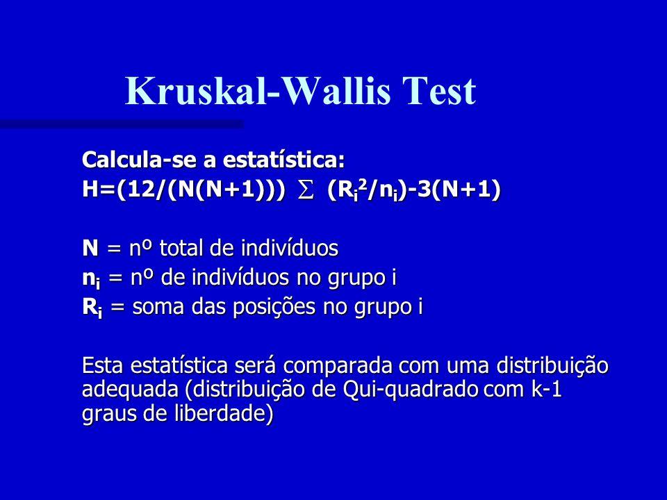 Kruskal-Wallis Test Calcula-se a estatística: H=(12/(N(N+1))) (R i 2 /n i )-3(N+1) N = nº total de indivíduos n i = nº de indivíduos no grupo i R i =