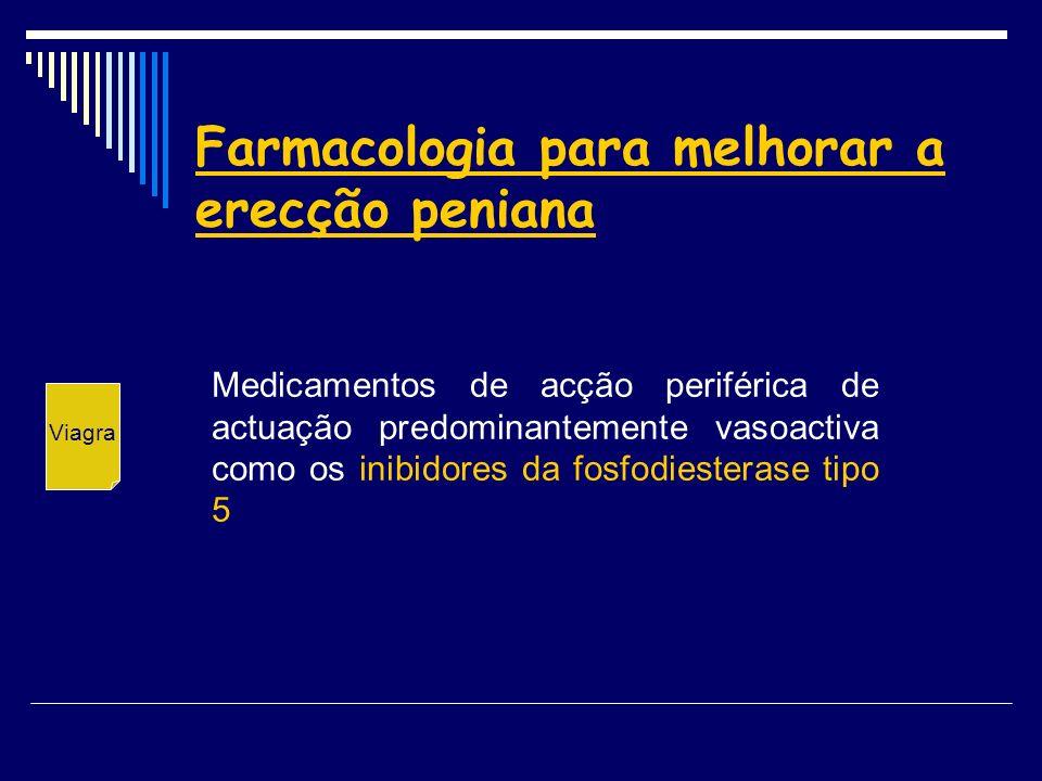 Farmacologia para melhorar a erecção peniana Medicamentos de acção periférica de actuação predominantemente vasoactiva como os inibidores da fosfodies