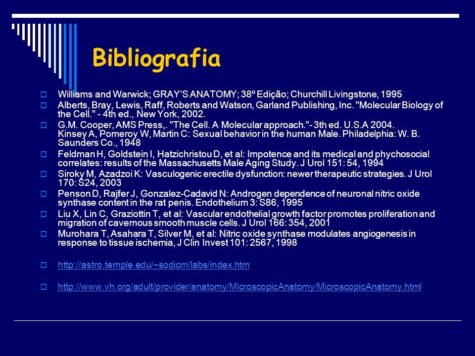 Bibliografia Williams and Warwick; GRAYS ANATOMY; 38º Edição; Churchill Livingstone, 1995 Alberts, Bray, Lewis, Raff, Roberts and Watson, Garland Publ