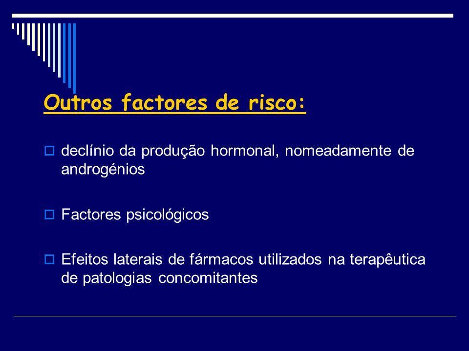 Outros factores de risco: declínio da produção hormonal, nomeadamente de androgénios Factores psicológicos Efeitos laterais de fármacos utilizados na