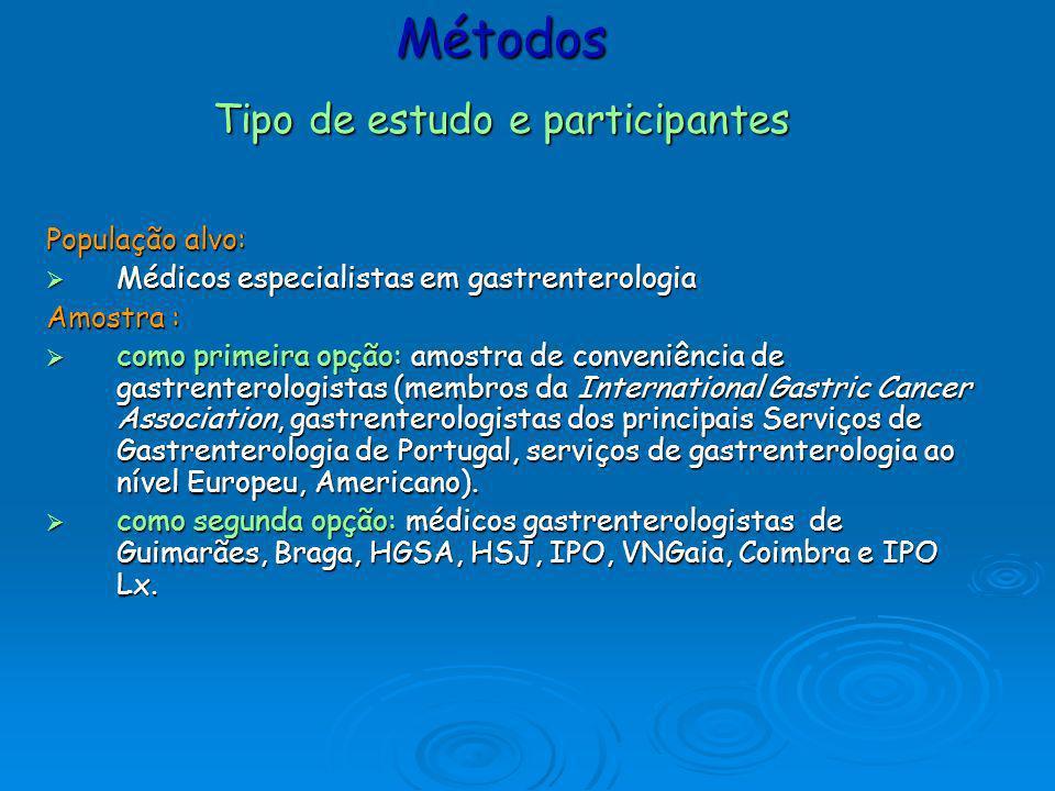 População alvo: Médicos especialistas em gastrenterologia Médicos especialistas em gastrenterologia Amostra : como primeira opção: amostra de conveniê