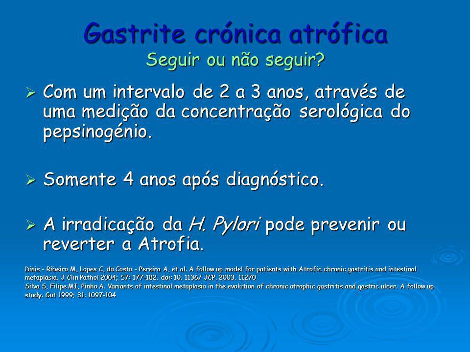 Metaplasia Intestinal Diagnóstico Cromoendoscopia (com azul de metileno) Cromoendoscopia (com azul de metileno) detecta áreas da mucosa com metaplasia intestinal Biópsia Biópsia Raez I, Toth E.