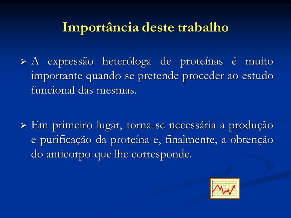 Importância deste trabalho A expressão heteróloga de proteínas é muito importante quando se pretende proceder ao estudo funcional das mesmas. A expres