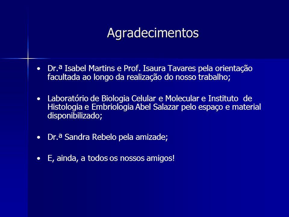 Agradecimentos Dr.ª Isabel Martins e Prof. Isaura Tavares pela orientação facultada ao longo da realização do nosso trabalho; Laboratório de Biologia