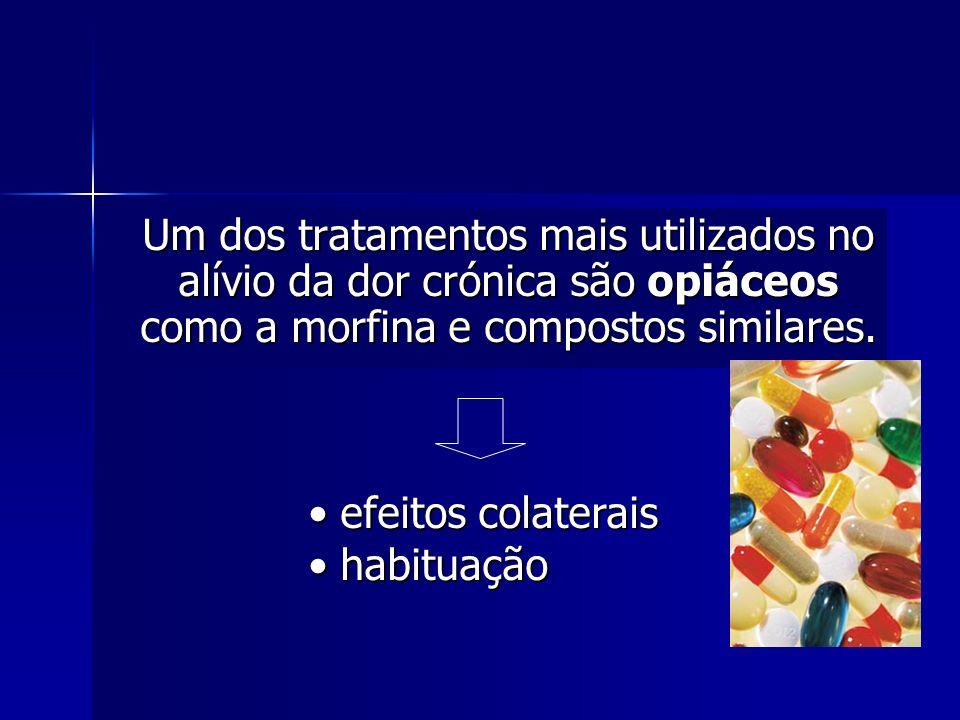 Um dos tratamentos mais utilizados no alívio da dor crónica são opiáceos como a morfina e compostos similares. efeitos colaterais efeitos colaterais h