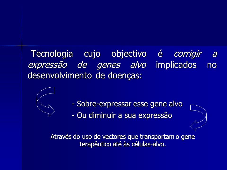 Tipos de vectores: víricos e não víricos Os mais utilizados são os víricos Os vectores víricos são derivados de vírus por substituição da componente patogénica por genes terapêuticos.