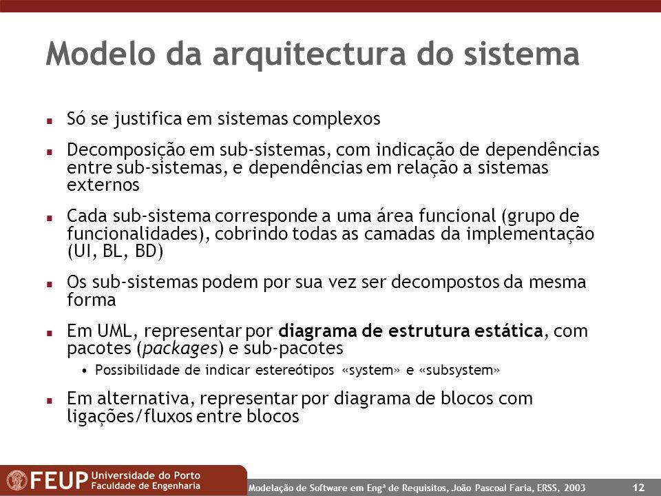 Modelação de Software em Engª de Requisitos, João Pascoal Faria, ERSS, 2003 12 Modelo da arquitectura do sistema n Só se justifica em sistemas complex