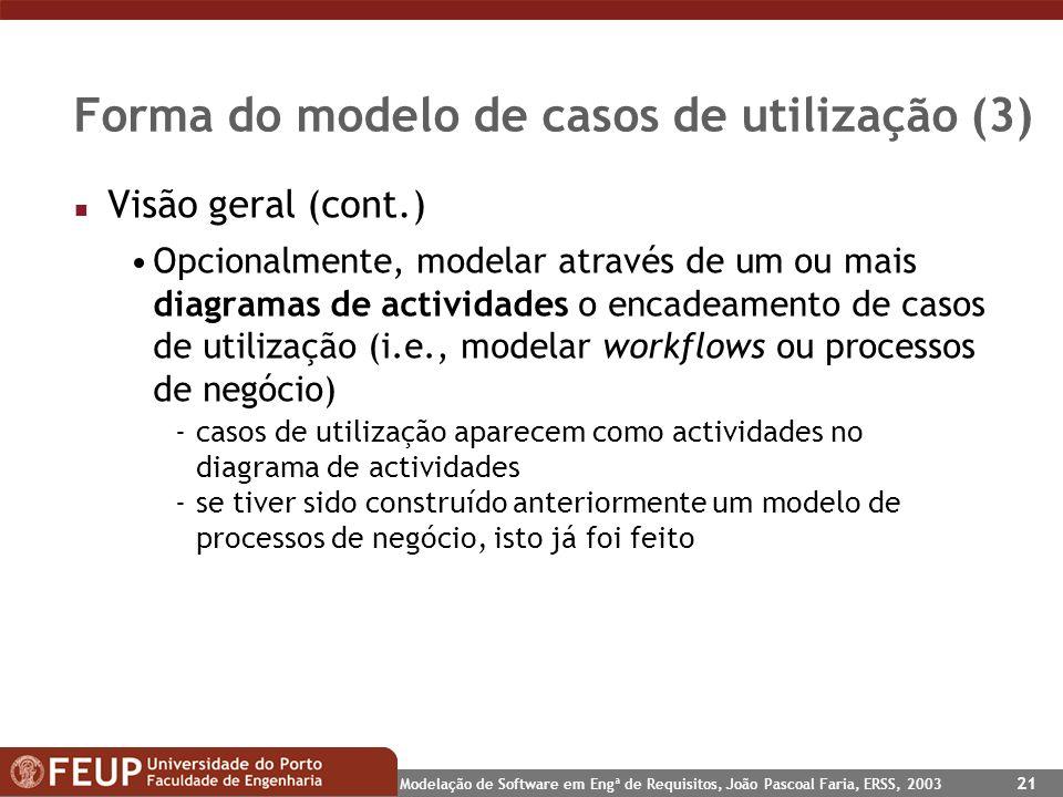 Modelação de Software em Engª de Requisitos, João Pascoal Faria, ERSS, 2003 21 Forma do modelo de casos de utilização (3) n Visão geral (cont.) Opcion