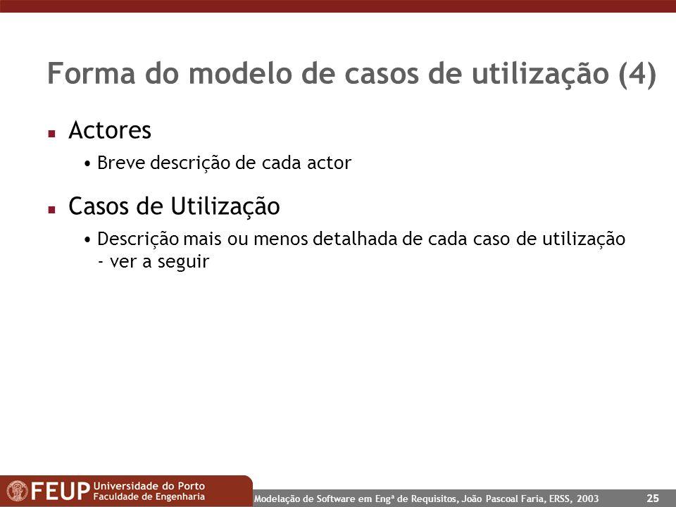 Modelação de Software em Engª de Requisitos, João Pascoal Faria, ERSS, 2003 25 Forma do modelo de casos de utilização (4) n Actores Breve descrição de