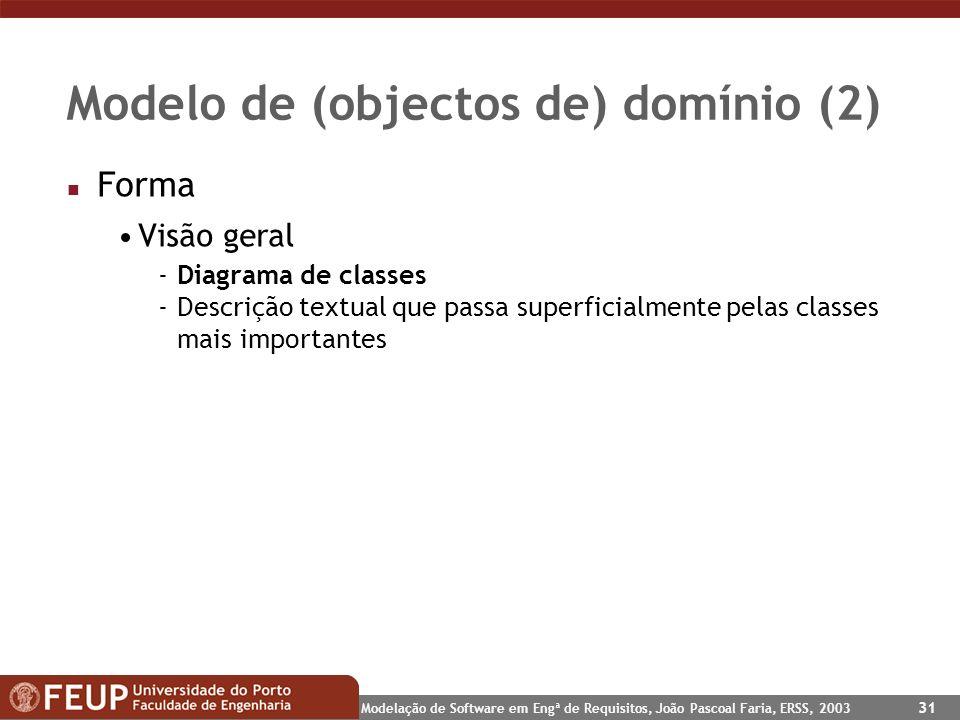 Modelação de Software em Engª de Requisitos, João Pascoal Faria, ERSS, 2003 31 Modelo de (objectos de) domínio (2) n Forma Visão geral -Diagrama de cl