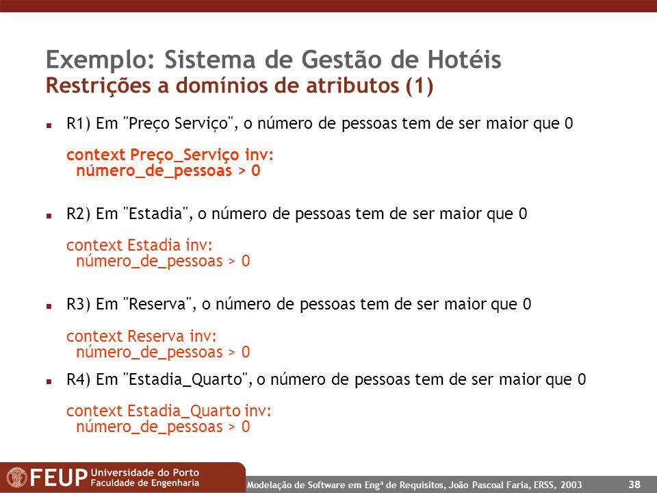 Modelação de Software em Engª de Requisitos, João Pascoal Faria, ERSS, 2003 38 Exemplo: Sistema de Gestão de Hotéis Restrições a domínios de atributos