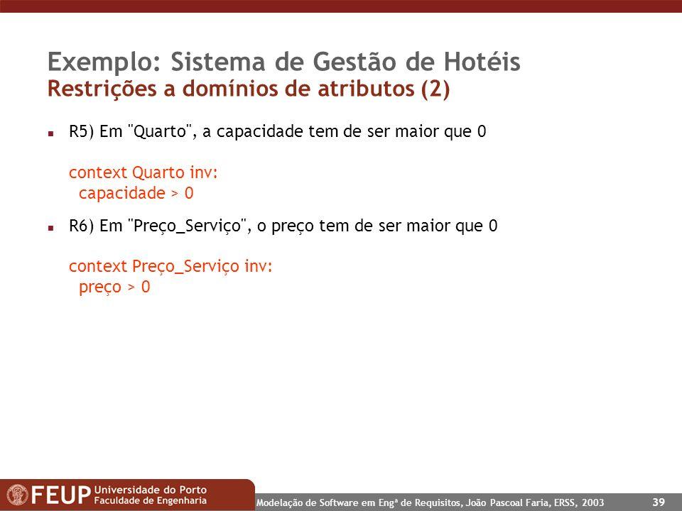 Modelação de Software em Engª de Requisitos, João Pascoal Faria, ERSS, 2003 39 Exemplo: Sistema de Gestão de Hotéis Restrições a domínios de atributos