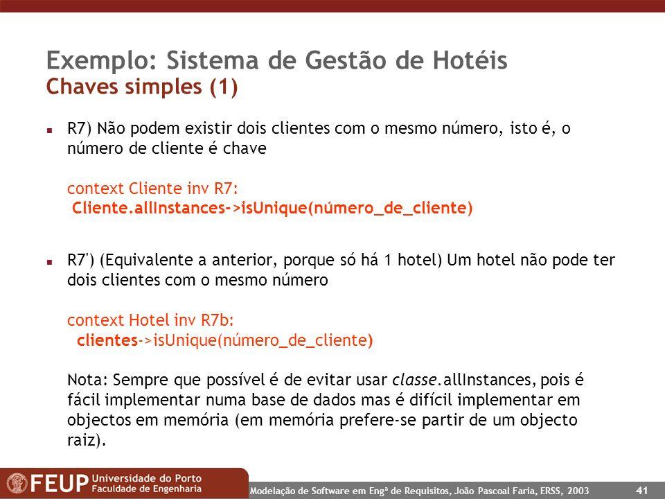 Modelação de Software em Engª de Requisitos, João Pascoal Faria, ERSS, 2003 41 Exemplo: Sistema de Gestão de Hotéis Chaves simples (1) n R7) Não podem