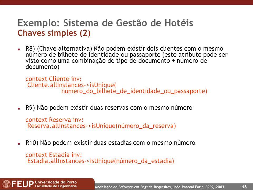 Modelação de Software em Engª de Requisitos, João Pascoal Faria, ERSS, 2003 48 Exemplo: Sistema de Gestão de Hotéis Chaves simples (2) n R8) (Chave al