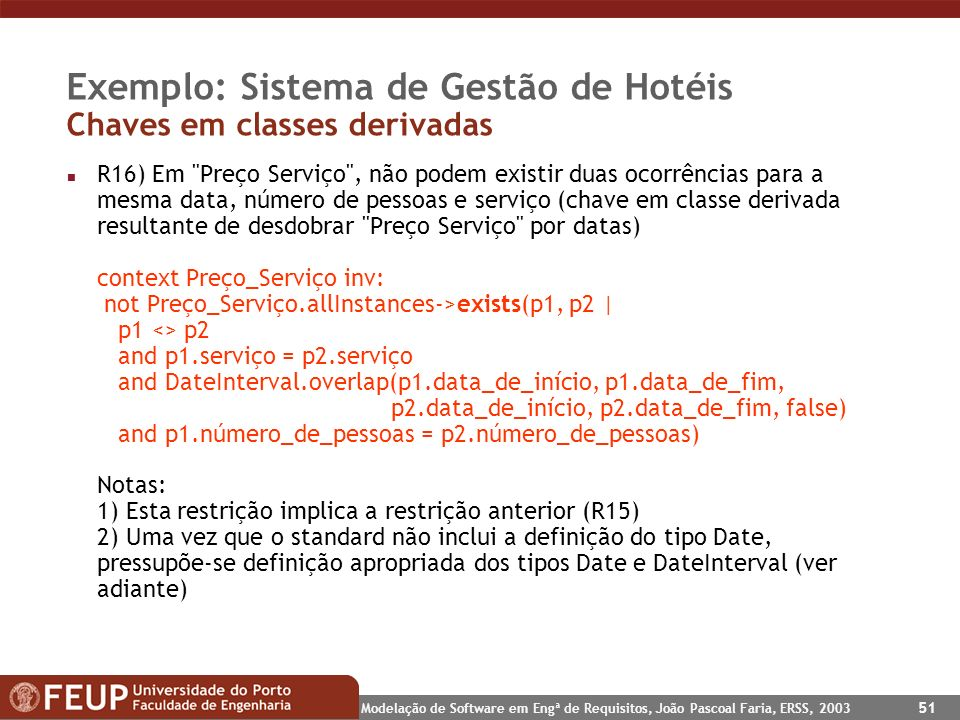 Modelação de Software em Engª de Requisitos, João Pascoal Faria, ERSS, 2003 51 Exemplo: Sistema de Gestão de Hotéis Chaves em classes derivadas n R16)