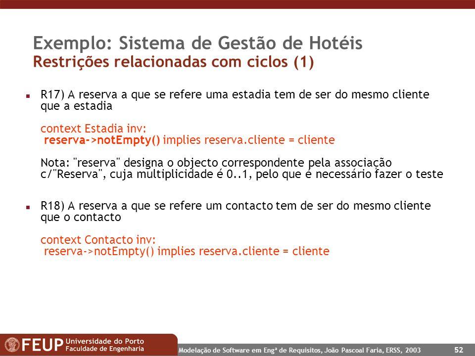 Modelação de Software em Engª de Requisitos, João Pascoal Faria, ERSS, 2003 52 Exemplo: Sistema de Gestão de Hotéis Restrições relacionadas com ciclos