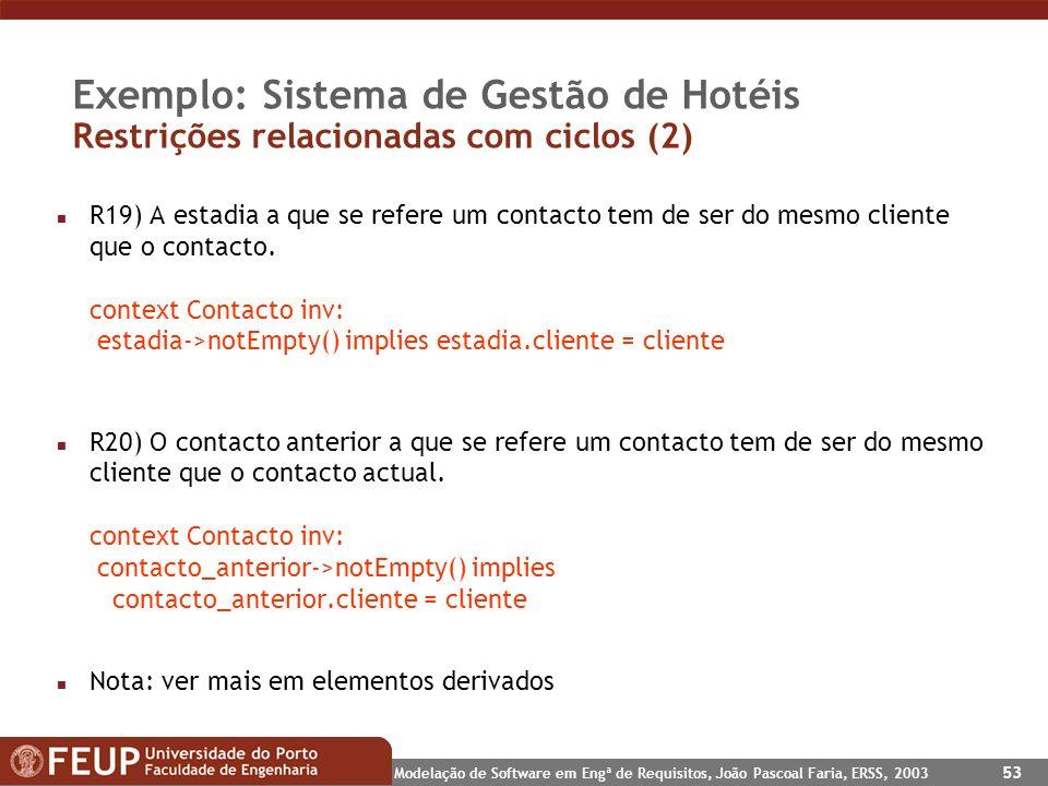 Modelação de Software em Engª de Requisitos, João Pascoal Faria, ERSS, 2003 53 Exemplo: Sistema de Gestão de Hotéis Restrições relacionadas com ciclos