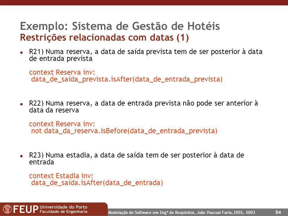 Modelação de Software em Engª de Requisitos, João Pascoal Faria, ERSS, 2003 54 Exemplo: Sistema de Gestão de Hotéis Restrições relacionadas com datas