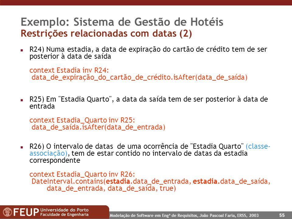Modelação de Software em Engª de Requisitos, João Pascoal Faria, ERSS, 2003 55 Exemplo: Sistema de Gestão de Hotéis Restrições relacionadas com datas