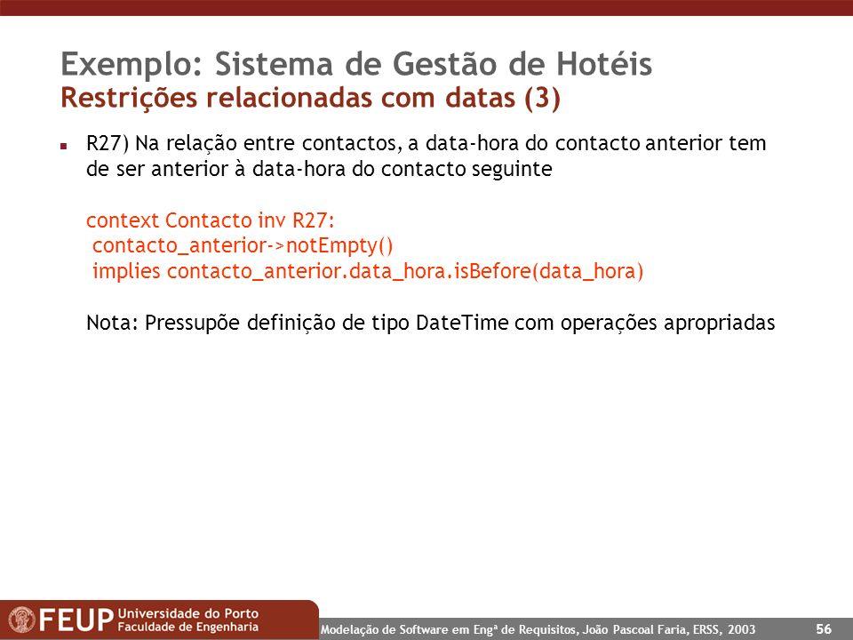 Modelação de Software em Engª de Requisitos, João Pascoal Faria, ERSS, 2003 56 Exemplo: Sistema de Gestão de Hotéis Restrições relacionadas com datas