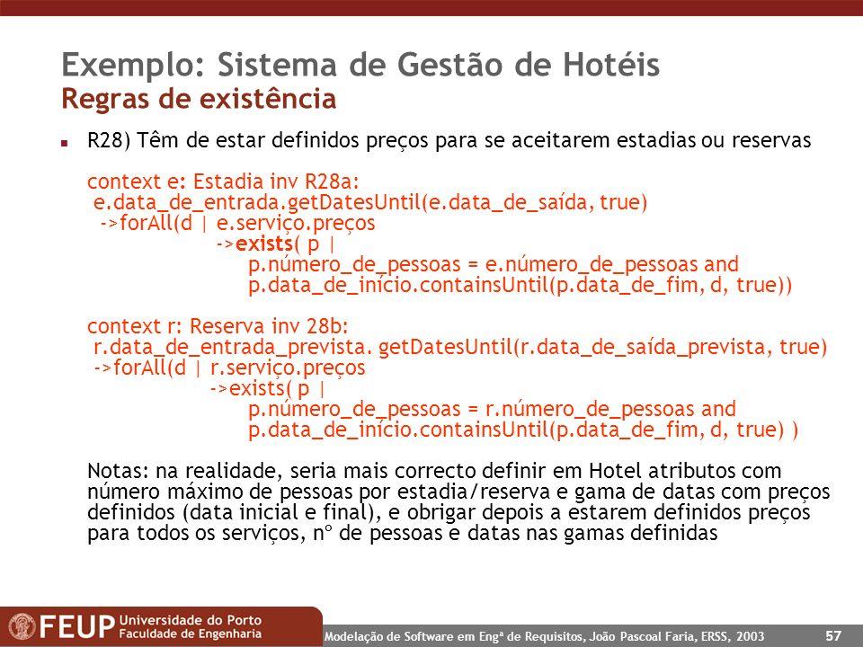 Modelação de Software em Engª de Requisitos, João Pascoal Faria, ERSS, 2003 57 Exemplo: Sistema de Gestão de Hotéis Regras de existência n R28) Têm de