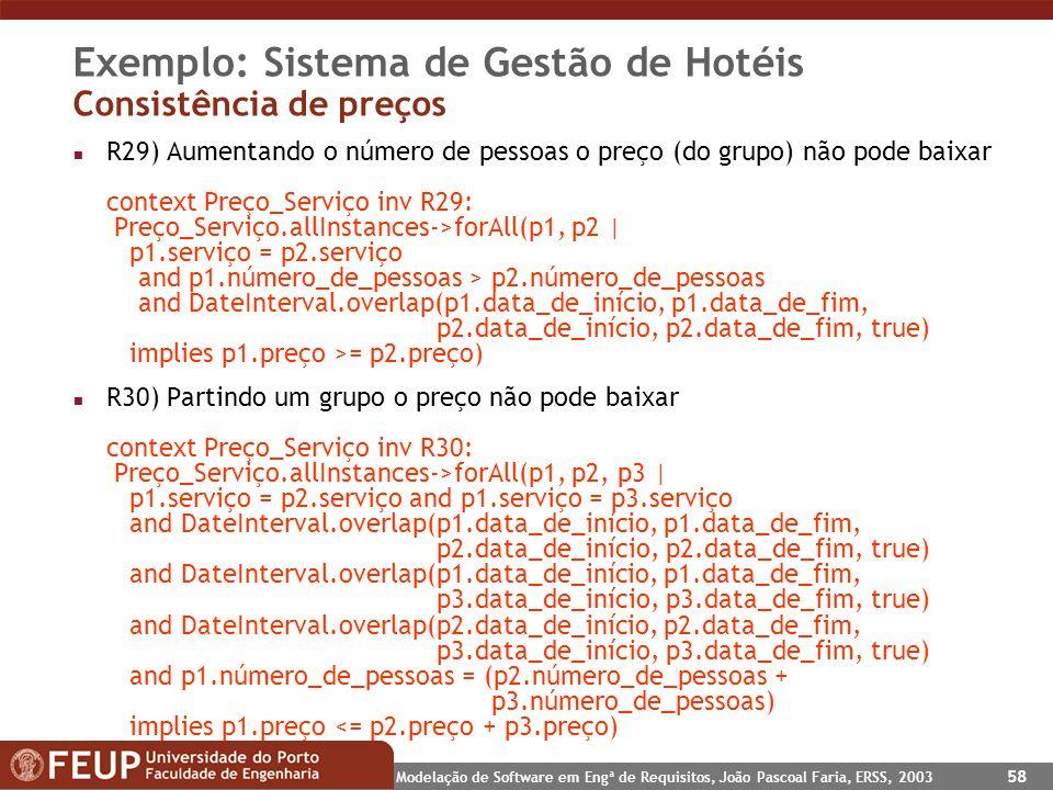 Modelação de Software em Engª de Requisitos, João Pascoal Faria, ERSS, 2003 58 Exemplo: Sistema de Gestão de Hotéis Consistência de preços n R29) Aume