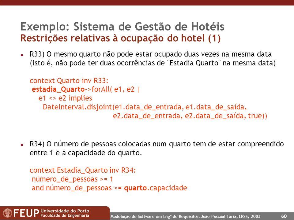 Modelação de Software em Engª de Requisitos, João Pascoal Faria, ERSS, 2003 60 Exemplo: Sistema de Gestão de Hotéis Restrições relativas à ocupação do