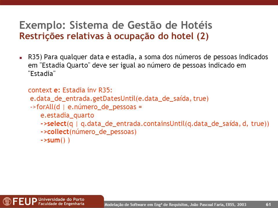 Modelação de Software em Engª de Requisitos, João Pascoal Faria, ERSS, 2003 61 Exemplo: Sistema de Gestão de Hotéis Restrições relativas à ocupação do